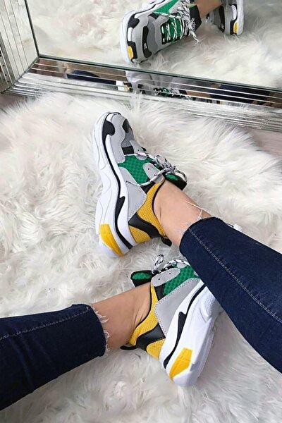 Gri Yeşil Pembe Yüksek Taban Unisex Sneakers Ayakkabı