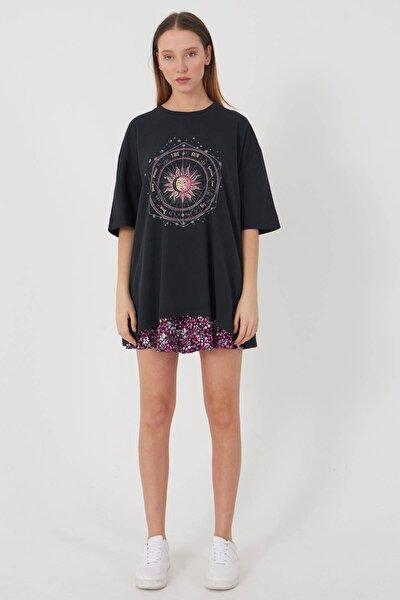 Kadın Füme Baskılı Oversize T-Shirt P9407 - T8 Adx-0000022025