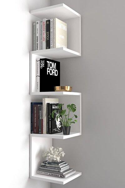 Zig Zag Köşe Duvar Rafı / Kitaplık Beyaz