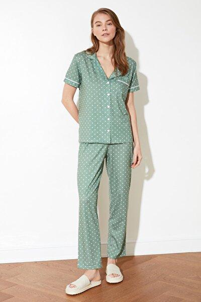 Yeşil Puantiyeli Örme Pijama Takımı THMSS20PT0304