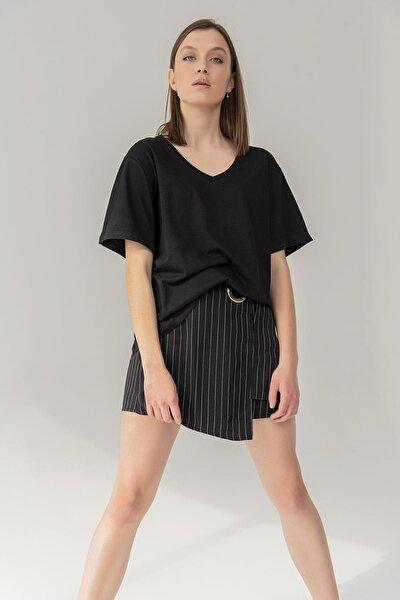 Kadın Siyah  Pamuk V Yaka Boyfriend Oversize Örme T-shirt
