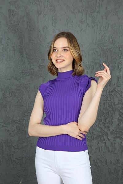Kadın Mor Kelebek Kol Yazlık Triko Bluz