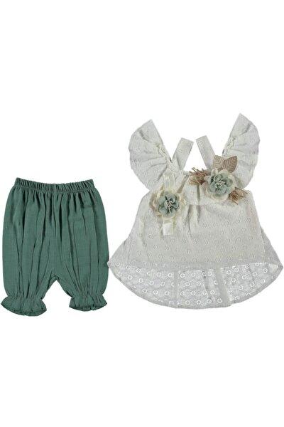 Kız Bebek Beyaz Çiçek Detaylı Volanlı Takım