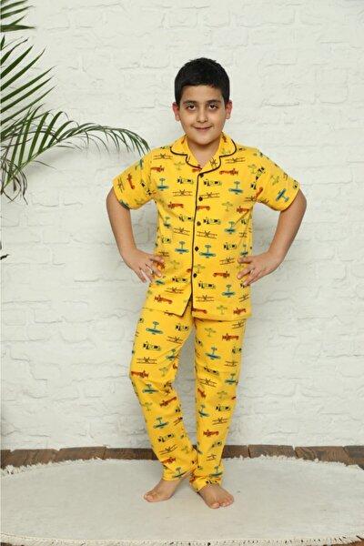 Erkek Çocuk Sarı Renk Uçak Helikopter Desenli Pijama Takımı