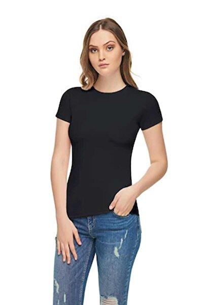 Kadın Siyah Elastan Likralı Pamuklu Body  T-Shirt