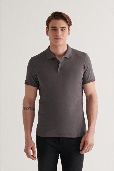 Erkek Antrasit Polo Yaka Düz T-shirt E001004