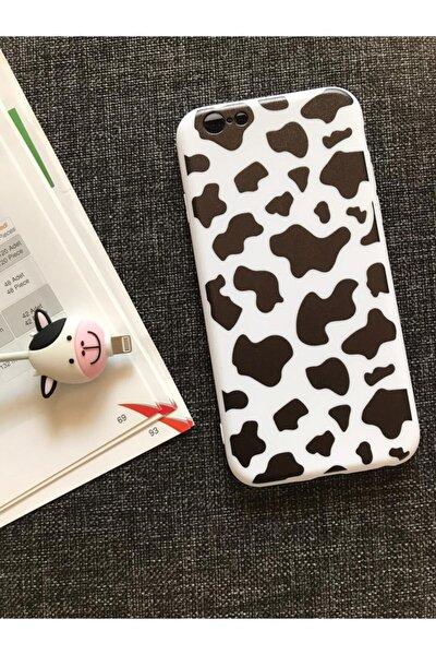 Iphone 7 Ve 8 Uyumlu Inek Desenli Kılıf+kablo Koruyucu