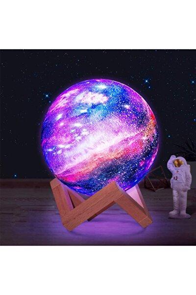 3d Ahşap Standlı 7 Renk Değiştiren Orta Boy Galaksi Gezegen Gece Lambası Ay-gezegen Galaxy