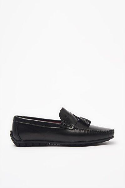 Hakiki Deri Siyah Loafer Ayakkabı 02AYH205760A100
