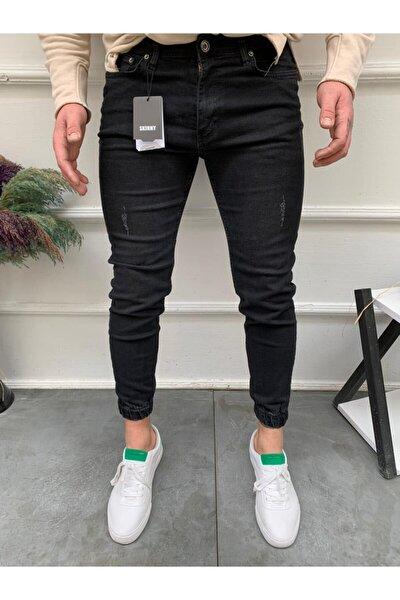 Paçası Lastikli Likralı Siyah Erkek Kot Pantolon