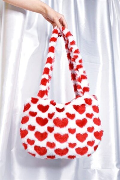 Kalplı Fluffy Peluş Çanta