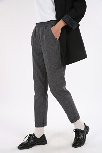 Antrasit Yüksek Bel Cepli Boru Paça Pantolon