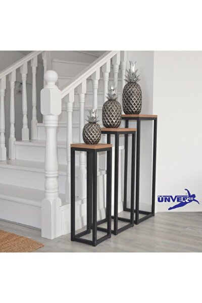 Ragusa S Bıstro Zıgon Sehpa Dekoratıf Metal Ayaklı Cıceklık 3 Lu Set Yan Sehpa