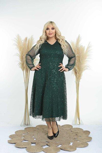 Kadın Yeşil Kol Tül Detay Ful Pul Payetli Abiye Elbise