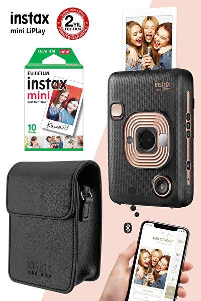Instax Mini Liplay Hybrid Elegant Black Fotoğraf Makinesi Çantalı Hediye Seti 3