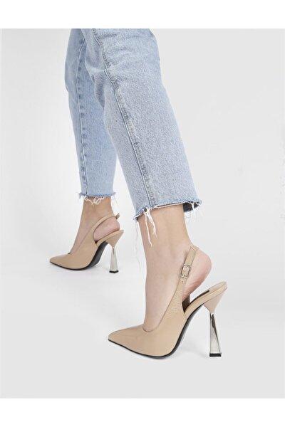 Ranka Kırışık Rugan Hakiki Deri Kadın Bej Topuklu Sandalet