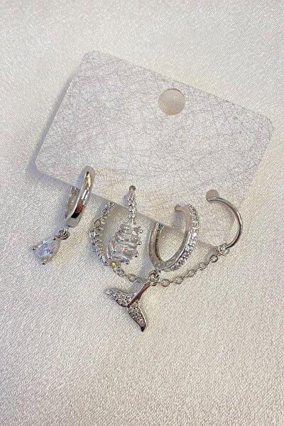 Kadın Gümüş Taşlı Balık Kuyruklu Zincir Çoklu Küpe