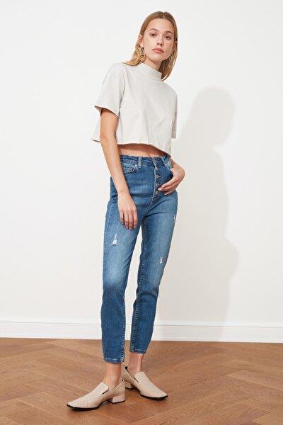 Lacivert Yıpratmalı Önden Düğmeli Yüksek Bel Skinny Jeans TWOSS21JE0248