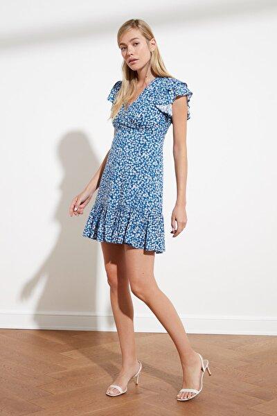 Mavi Çiçek Desenli Elbise TWOSS21EL0272