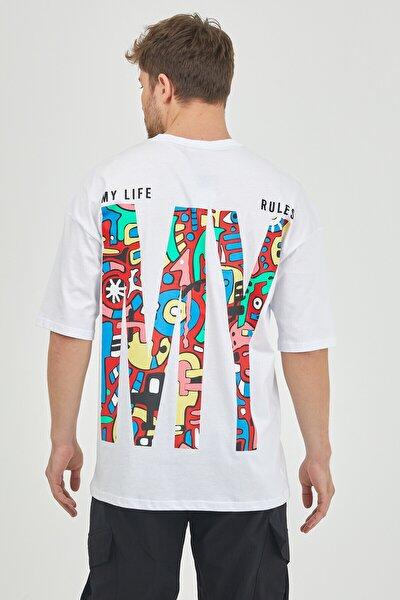 Beyaz Önür & Arkası Baskılı Oversize T-shirt 1kxe1-44629-01