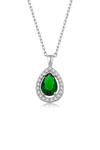 Kadın Yeşil Damla Pırlanta Model Gümüş Kolye 925 ayar 2 gr