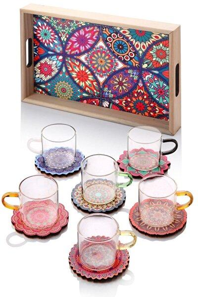 13 Parça Çini Desenli Renkli Çay Seti