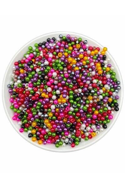 4mm Karışık Renkli Plastik Inci Boncuk (100gr,~3.000 Adet Boncuk)