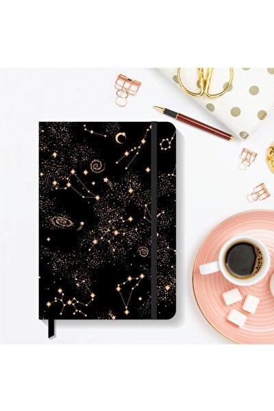 Notebook Lastikli Çizgili Sert Kapak Defter 13x21 Cm Hardcover Notebook Black