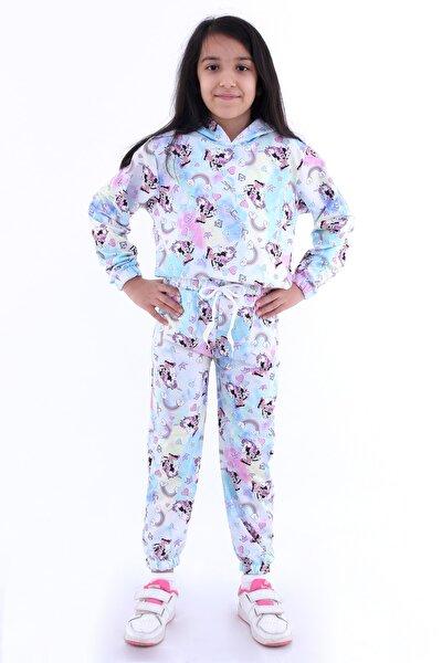 Kız Çocuk Pembe Batik Baskılı Kapüşonlu Takım 4122-2