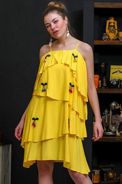 Kadın Sarı İp Askılı 3D Kiraz Nakışlı Kat Kat Asimetrik Kesim Dokuma Elbise M10160000EL95728