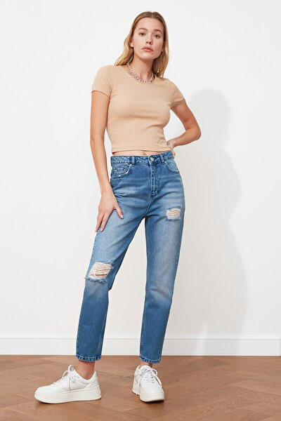 Mavi Yırtık Detaylı Yüksek Bel Mom Jeans TWOSS20JE0040