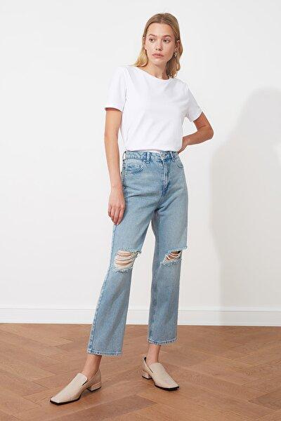 Mavi Yırtık Detaylı Yüksek Bel Straight Jeans TWOAW21JE0120