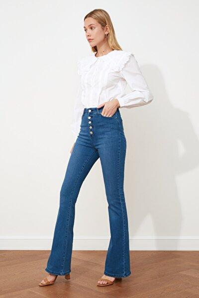 Indigo Önden Düğmeli Yüksek Bel Flare Jeans TWOAW21JE0157
