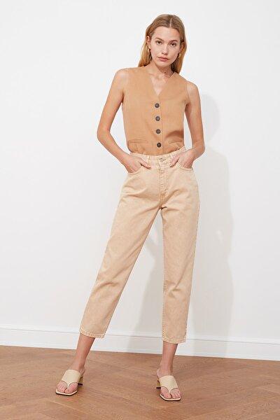 Bej Yıkamalı Yüksek Bel Mom Jeans TWOAW21JE0262