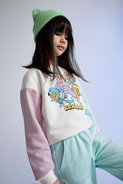 Kız Çocuk Kral Şakir Lisanslı Renk Bloklu Sweatshirt T5595A621SP