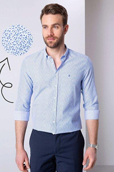 Erkek Mavi Slim Fit Gömlek G021GL004.000.814238