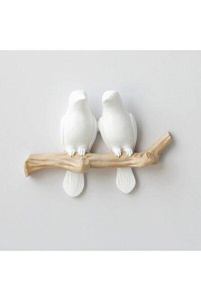 Dekoratif Ikili Modern Duvar Askılık Dal Üstünde Kuş Dekor
