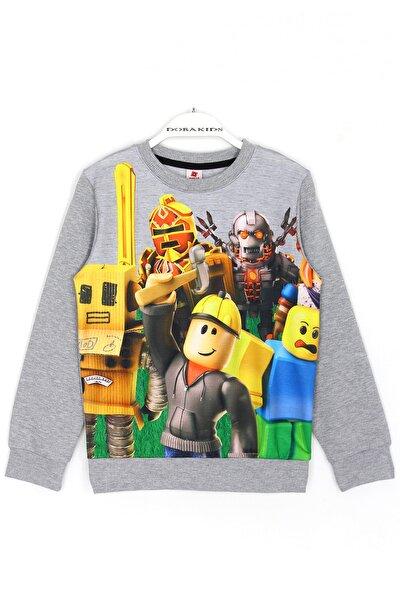 Erkek Çocuk Gri Oyun Karaktarleri Baskılı Sweatshirt