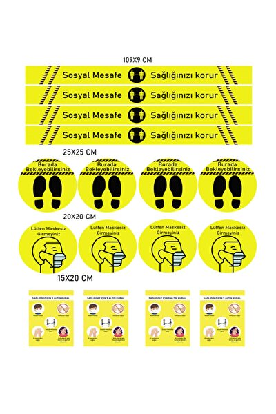 Sosyal Mesafe Uyarı Sticker 5 Li Set 20 Adet Sarı Dp 600
