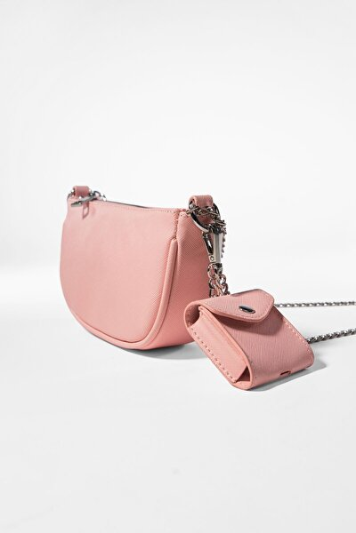 Kadın Pembe  Kılıf Detaylı Zincirli Askılı Mini Çanta