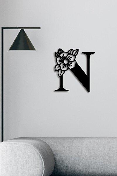 Lazer Kesim Siyah Floral Desenli Ahşap N Harfi