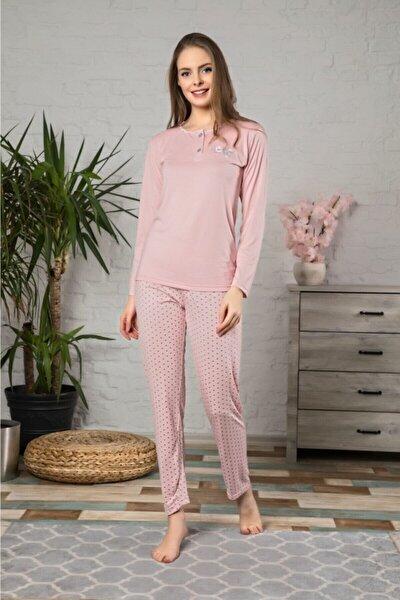 Kadın Pudra Pijama Takımı 4383 Hediyelik