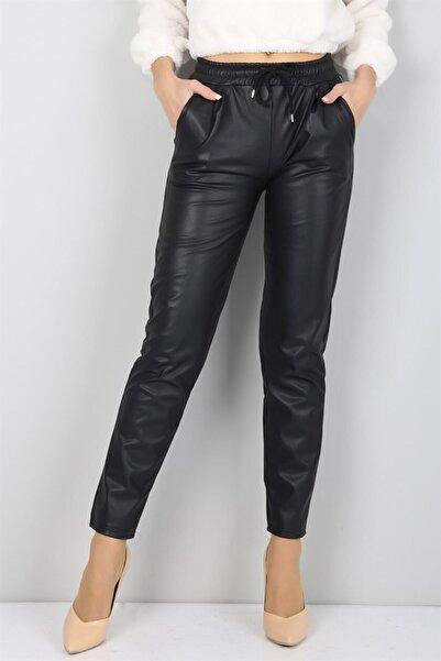 Kadın Siyah Beli Lastikli Düz Paça Deri Pantolon