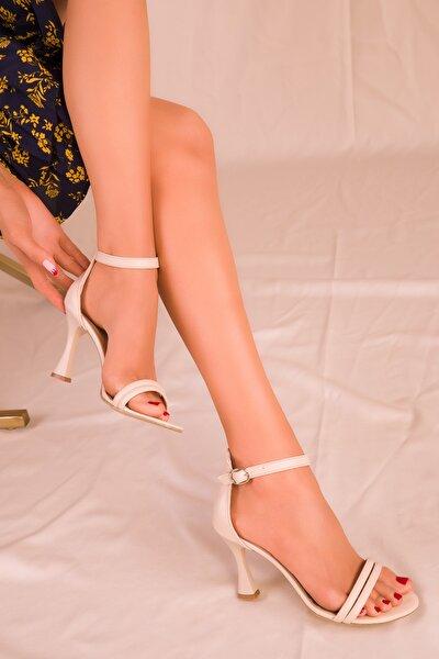 Bej Kadın Klasik Topuklu Ayakkabı 15839