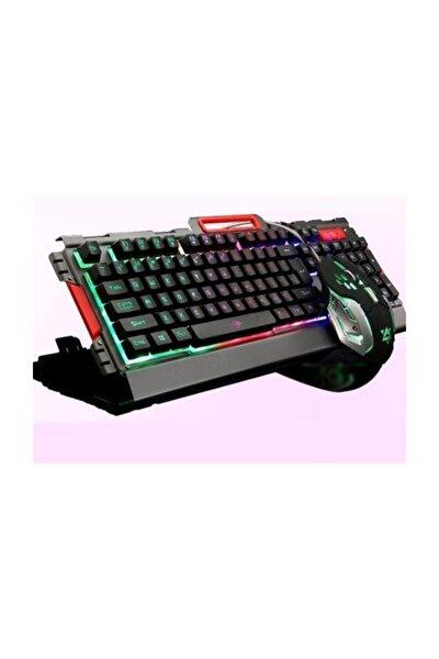 Pg8016 Oyuncu Klavye Mouse Seti Mekanik Hisli Rgb Işık Nefes Modu Silver