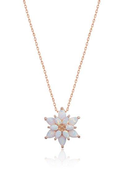 925 Ayar Beyaz Opal Taşlı Gümüş Lotus Kolye