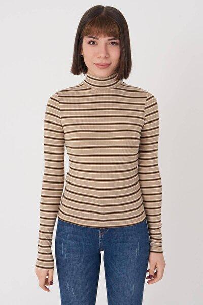 Kadın Kahverengi Çizgili Bluz