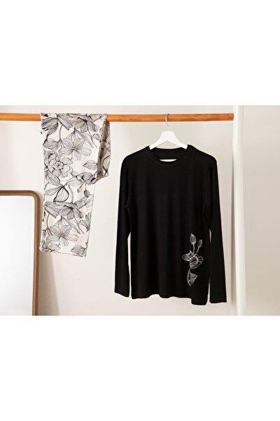 Kadın Siyah Beyaz Big Flower Viskon Pijama Takımı L-xl