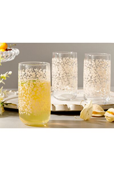 Natural Flower Cam 3'lü Meşrubat Bardağı 365 Ml Açık Krem