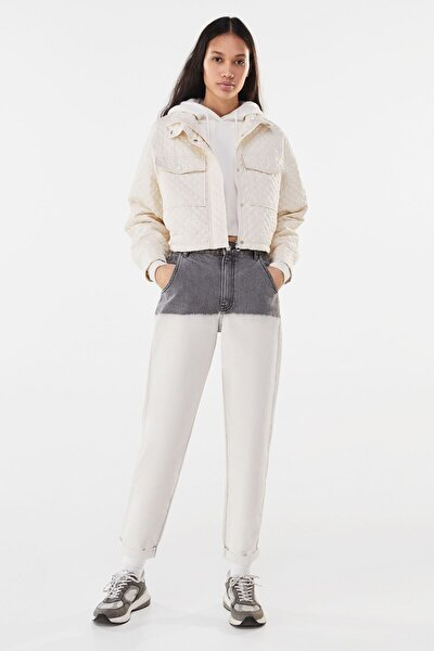 Kadın Krem Naylon Crop Ceket